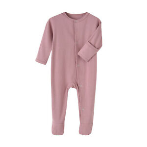 Infant Baby Long Sleeve Romper Spring Fall Bodysuit Solid Color Casual Jumpsuits