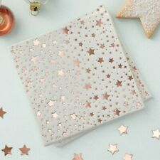 ROSE GOLD FOILED STAR DESIGN COCKTAIL NAPKINS -METALLIC STAR,Wedding,Baby Shower
