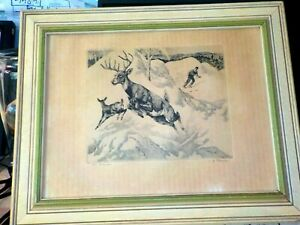 """R.H. Palenske Plate Etching Mountain Skier and Deer """" The Intruder"""" Mid Century"""