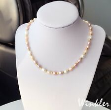 mehrfarbige Perlenkette 6mm Rosa Weiß Lila Süßwasserperlen Halskette