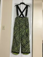 Boys Spyder Black And Light Green Snowboard Pants With Suspenders Size 14