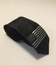 American Flag Necktie, Unique And Stylish, Silver Flag On Black Tie