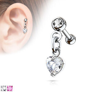 """1pc Crystal Heart Dangle Tragus Helix Cartilage Ring 16g 1/4""""- choose your color"""
