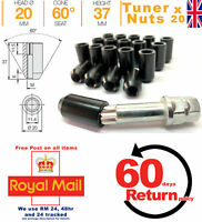 Ford Alloy wheel Slim Tuner Nuts Black M12x1.5 + Key x 20