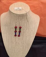 Beaded Ruby ,Sapphire And Emerald 925 Silver Earrings 6 G