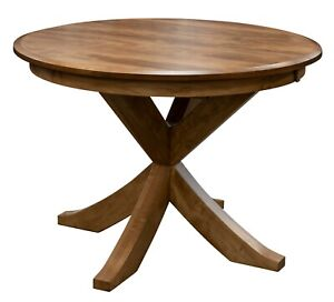 """Amish Round Transitional Single Pedestal Dining Table x Base Solid Wood 48"""",54"""""""