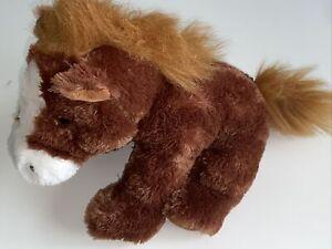 "Aurora Full Body Horse Plush Stuffed Animal 12"" Brown Mane White Facial Features"