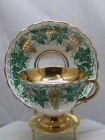 Vintage Rosina Fine Bone China England Gold Grapes and Green Vine Gold Handle