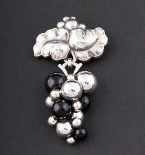 Georg Jensen Sterling Silver Grape Brooch # 217 B. w. Black Agate, NEW!