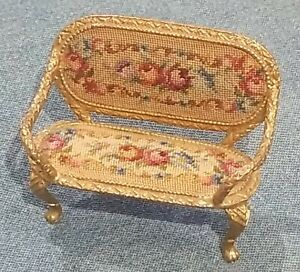 Antuque Dollhouse Gold Ormolu Petit Point Floral Couch Sofa Miniature Germany