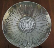 "Polished Aluminum 10"" Sunflower Bowl Made in India Flood Safe Very Nice!"