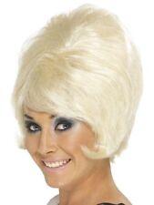 New Women Girl Fantasy Fancy Dress 1960's 70's Short Blonde Beehive Wig Moll Fun