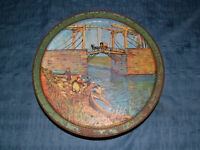 VINTAGE LANGLOIS BRIDGE ARLES FRANCE LARGE SERVING TIN