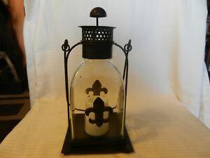 Decorative Table Lantern Metal & Glass Fleur De Lis Battery Operated