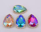 20 pcs Crystal Rhinestone diamond Faceted Glass Teardrop Colour AB Jewels Button