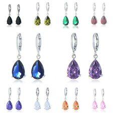 White Gold   Luxury Crystal Women Water Drop Dangle Earrings White
