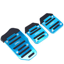 Universal 3pcs Blue Racing Sport  Non-Slip Aluminum for Manual Car Pedals Pad
