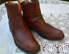 TIMBERLAND BROWN OILED LEATHER PULL-ON CHELSEA BOOTS - UK 8, EUR 42
