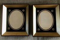 "Mid Century Picture Frames Set Painted Glass Mahogany Wood 7x6"" Black & Gold Pr"