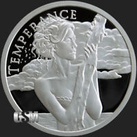 Silver Shield 1oz Proof TEMPERANCE 2018 .999 Fine Silver Round COA