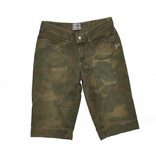 9.2 by CARLO CHIONNA LADIES CAMOUFLAGE GREEN DENIM SHORTS JEANS STRETCH W26 UK8
