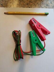 Stafix fence lead set cables. 5 Green/Black cables & 5 Red/Black cables.
