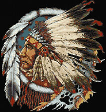 Indian Chief Counted Cross Stitch Kit Designs In Thread