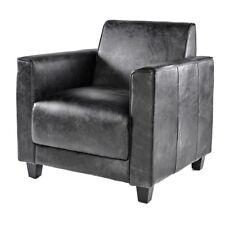 Vintage Echtleder Sessel Schwarz Ledersessel Design Lounge Antik Clubsessel 641