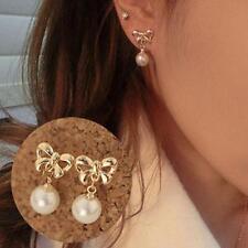 Boucle D'oreille Strass Nœud Papillon Perle Pendentif Bijoux Mode Femme H