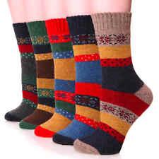 Women 5 Pack Wool Cotton Winter Crew Socks, Warm Casual, Snowflake, Shoe 5-9