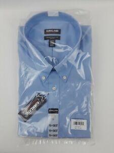 NEW Men's Kirkland Traditional Fit Button Down Collar Non Iron 19 x 36/37, Blue