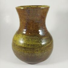 """HANDMADE Signed 5.5"""" Small Rustic Green & Brown Heavy Stoneware Pottery Vase"""
