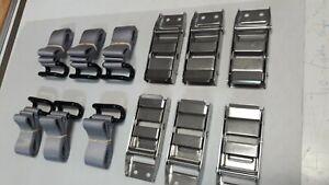 6 TAUTLINER LOAD RESTRAINT BKLS & 6 x SILVER RAVE/COAMING RAIL  STRAPS FREE POST
