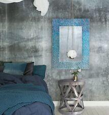 New French Moroccan Wall Mirror Blue Glass Mosaic Bohemian Vanity Entry Bath