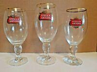 3  x Stella Artois Goblet Glasses - 2 x 33cl 1 x 40cl - Belgium