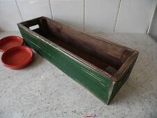 Wooden Window Box Green Indoor/outdoor Flowers Herbs Vintage Style 4 free trays