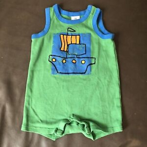 Hanna Andersson Sleeveless Green Romper Size 70 Pirate Ship Boat Shorts Tank