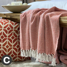 Luxury Large Burnt Orange Eco Cotton Herringbone Soft Bed Sofa Blanket Throw