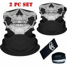 2 Pcs Set Face Mask Bandana Skull Mouth Cover Balaclava Neck Reusable Motorcycle