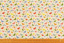 multicolor mariposas blanco fondo - Tela Poli Algodón Estampada