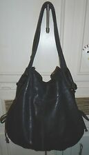 Designer LUCKY BRAND Slouchy Black Leather Hobo Tote Shoulder Bag Handbag Purse