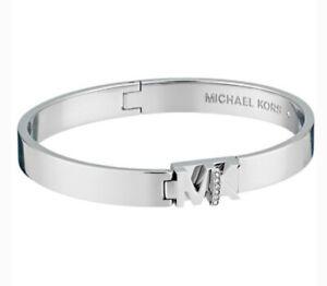 Michael Kors Haute Silver Tone Bangle Bracelet Crystal MKJ7698040