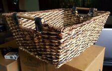 Multi-Shade Rectangular Basket, Wood Bar Leather Strap Handles 17x13x7
