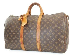 Auth LOUIS VUITTON Keepall Bandouliere 50 Monogram Canvas Duffel Bag #39303A