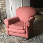 Vintage Armchair Pinkish Shade Re - upholstered Bun Feet