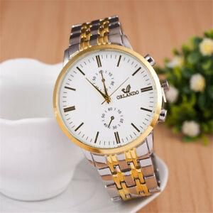 Herren Armbanduhr Silber Uhr Gold Mode Fashion Männer Quarz Luxus Weiß Business