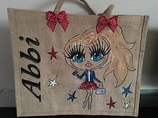 Personalised Hand Painted Large Jute Bags Painted Gifts Girls Ladies Nanna Gran
