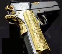 Custom Colt 1911 Grips For Kimber / Colt / ROCK ISLAND Frames Gold Plated