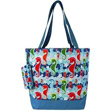 Canvas Utility Tote Bag Mult SEAHORSE Design for Travel, Shopping, School