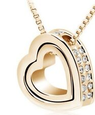 18K Yellow Gold Plated Austrian  Crystal Heart Pendant Necklace Elegant Gift